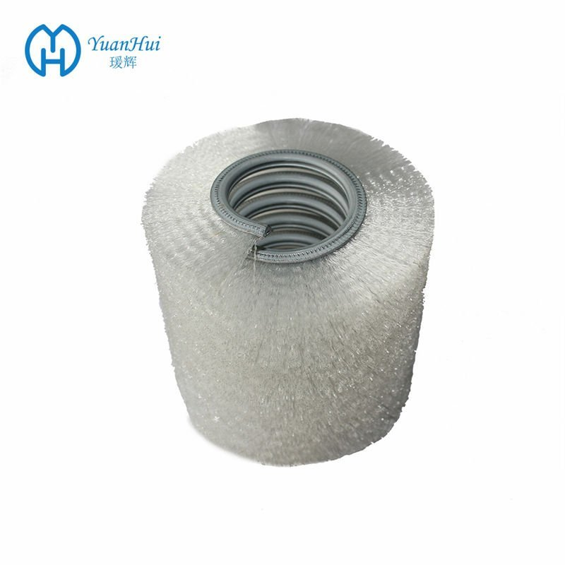 YuanHui Single Metal Band Cylinder Brush - White Crimped Plastic Brush